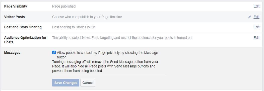 Facebook messaging settings