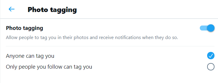 Twitter Photo Tagging Settings