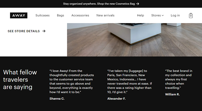 product reviews on homepage example