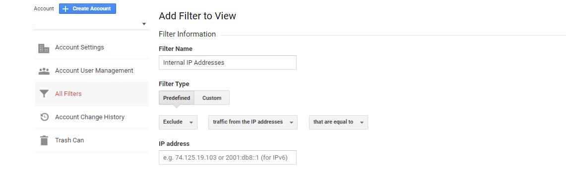 google analytics filter internal traffic